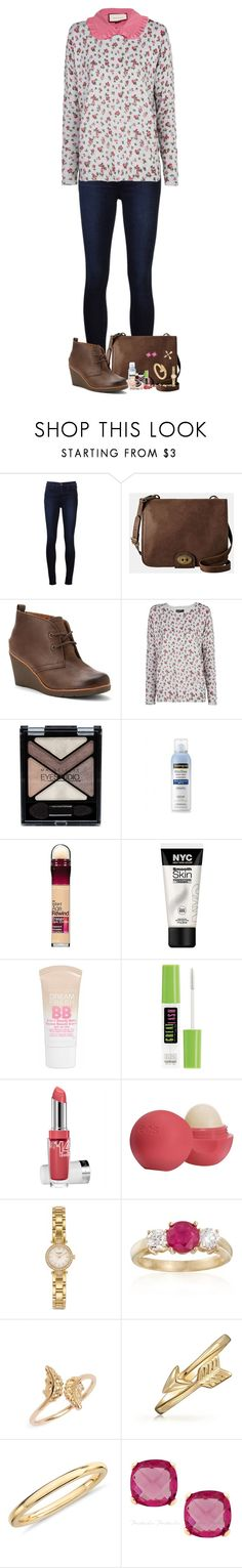 """The Girl and The Wolf"" by nessiecullen2286 ❤ liked on Polyvore featuring J Brand, FOSSIL, Sperry Top-Sider, MANGO, Maybelline, Gucci, Neutrogena, Eos, Kate Spade and Ross-Simons"