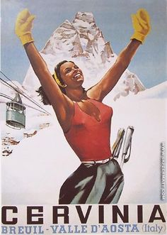 Vintage travel poster for Italian ski resort - Cervinia - Breuil - Valle d'Aosta, Italy