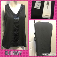 ☀Size Large Old Navy Sequin Detail Sleeveless Top Measurements are in photos. Brand New With Tags, no flaws. A2  Ask about a bundle discount on all items that are not ⏰Flash Sale items! I ship everyday. I always package safely. If I run out of boxes, I will use priority bags over a polymailer bag. If you prefer to only receive this great item in a box, please let me know! Thanks! Old Navy Tops Tank Tops