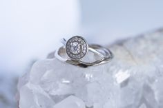 Vintage inspired gold organic Diamond halo ring by 27JEWELRY