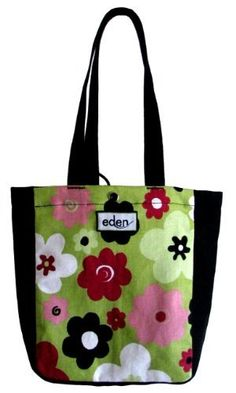 "Eden Bags Promenade Flowered Wine Tote Recycled Plastic Fabric Made in USA by Eden Bags. $14.95. FREE SHIPPING!. 10"" tall x 8"" wide x 4"" deep with 19"" long straps (9½"" drop). Created using USA recycled plastic bottle fabric. Two interior sleeves for wine bag, lunch tote, gift bag or small handbag. Snap closure to separate two wine bottles or secure bag contents. A stylish smaller tote bag from Eden bags in black recycled plastic bottle polyester and colorful ..."