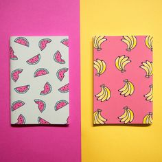 Fruity Notebook set // Banana and Watermelon by NotOnlyPolkaDots