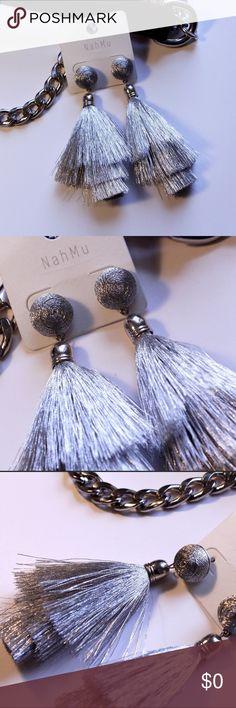 Silver Bon Bon Fringe Tassel Earrings Silver Bon Bon Fringe Tassel Earrings. Post backs included. Jewelry Earrings
