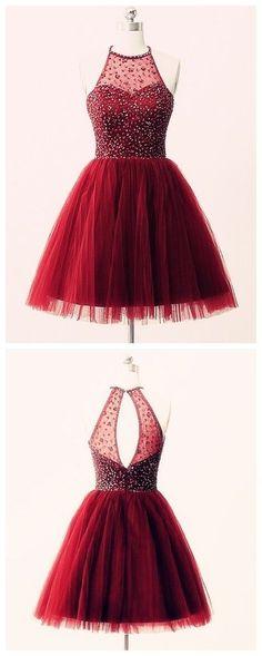 Lovely Halter Handmade Tulle Burgundy Short Prom Dresses,