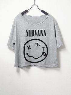 Nirvana , crop top, grey color, women crop shirt, screenprint tshirt, graphic tee