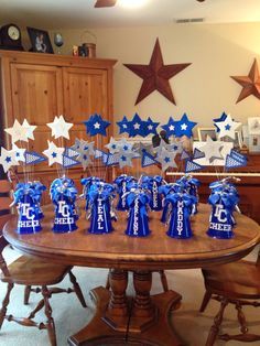 Centerpieces for TCHS Titan Cheer Banquet!