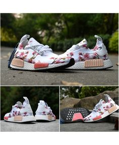 hot sale online 2b9b9 06092 Adidas Originals NMD W Peach Flower Print White Cheap Adidas Nmd, Womens Nmd,  Adidas