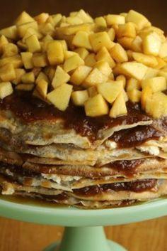 Bramley Apple and Cinnamon Crepe Cake Crape Cake, Yummy Treats, Barbecue, Cinnamon, French Toast, Tasty, Apple, Cakes, Baking