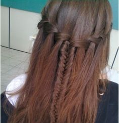 Waterfall braid + Fishtail braid look