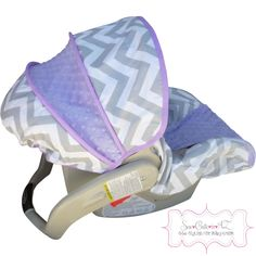 Gray Chevron with Lavender Infant Carseat Cover by sewcuteinaz on Etsy https://www.etsy.com/listing/129097868/gray-chevron-with-lavender-infant