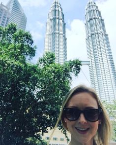Perfect weather to see the Petronas Towers in Malaysia  just beautiful #holiday #travelling #sightseeing #tourist #travel #attraction #tree #twintowers #sky #skyline #sunshine #rayban #sunglasses #smile #selfie #goodtimes #fun #goodvibesonly #happiness