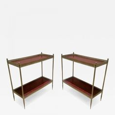 Maison Jansen Pair Two-Tier Neoclassic Side Tablered Leather Top - Galerie Andre Hayat