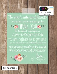 Wedding Thank you Sign, Spring Mint Wedding Decor, Thank You Saying for Family and Friends, Printable 8x10 Thank You, Wedding Display by Cmykprintabledesign on Etsy https://www.etsy.com/listing/186417186/wedding-thank-you-sign-spring-mint