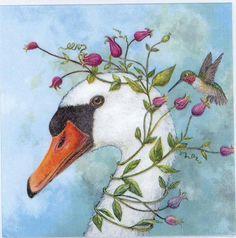 4 Decoupage Napkins  Goose and Hummingbird  Goose by Chiarotino