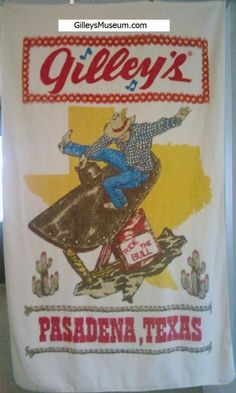 """This incredible Gilley's Pasadena, Texas """"Ride the Bull"""" beach towel is very rare and in great condition. It's part of the GilleysMuseum.com collection and it's for sale. Don't miss this great piece of vintage memorabilia from the Urban Cowboy days.  Gilley's put Mickey Gilley and country music on the map."""