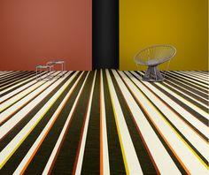 Bayadre Orange flooring via collaboration of two family owned businesses - Italian fashion house Missoni * Swedish flooring specialists Bolon.