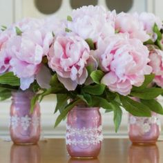 Create a set of these color mason jars the same color as your bouquet for a bold, eye-pleasing centerpiece with a pop of color perfect for a...