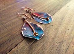 Crumpled Enamel on Copper Earrings by ChristensenStudio on Etsy, $20.00