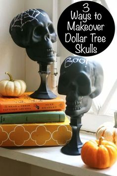 There are so many things you can do with Dollar Tree skulls! This post shows you three EASY options to revamp them for Halloween decor. They look awesome!