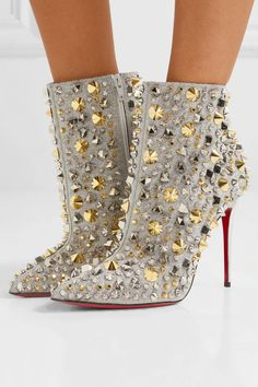 Christian Louboutin OFF!>> So Full Kate Christian Louboutin Studded Booties - HighHeelseek Sparkly Heels, Christian Louboutin Outlet, Very High Heels, Cute Sandals, Leather Ankle Boots, Shoe Boots, Women's Shoes, Hot Shoes, Shoes Style