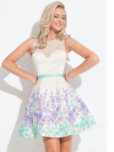 c9579053 A-Line/Princess Sleeveless Bateau Short/Mini Applique Satin Dresses Prom  Dresses Under