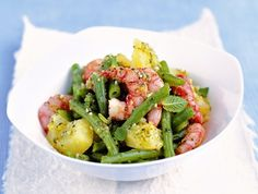 Insalata di patate e gamberi con pesto di menta - Potatoe and prawns salad with mint pesto