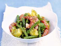 Insalata di patate e gamberi con pesto di menta - Potatoe and prawns salad with mint pesto