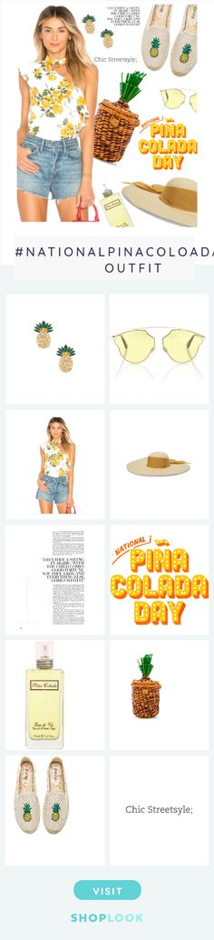 Pina Colada Day created on ShopLook.io featuring Anton Heunis, dior sunglasses, L'Academie, Sensi Studio, , , , pitusa, soludos,  perfect for #NationalPinaColoadaDay.