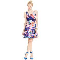 Spense Petite Brushstroke Floral Scuba Dress - Polyvore