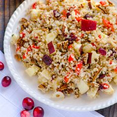 Quinoa Salad with Apples, Cranberries, Pecans & Maple Basil Dressing