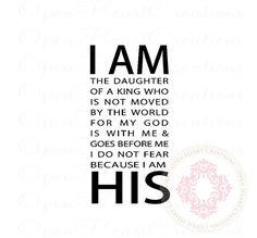 Scripture Wall Decals - I Am His The Daughter of a King 36h x 18w BA0378 on Etsy, $39.00