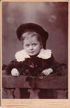 Vintage cabinet card of a cute boy - Little Lord Fauntleroy type