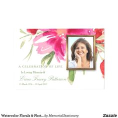 Watercolor Florals & Photo Funeral Guest Book