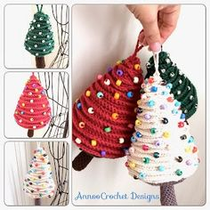 Annoo's Crochet World: Tree Ornaments Free Pattern Crochet Christmas Decorations, Christmas Tree Pattern, Christmas Crochet Patterns, Crochet Christmas Ornaments, Holiday Crochet, Christmas Knitting, Tree Decorations, Christmas Diy, Crochet Tree