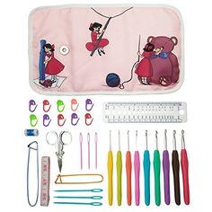 Essential Crochet Set  9 Ergonomic comfort grip crochet hooks accessories and rollup organizer bag case with cute design  MozArt Supplies *** Click image for more details.Note:It is affiliate link to Amazon. #instagood