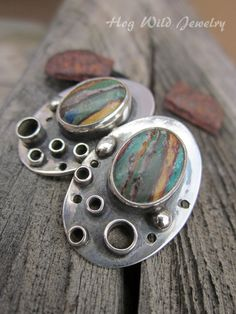 Handcrafted Artisan Made Sterling Silver and Calsilica Post Earrings by hogwildjewelry