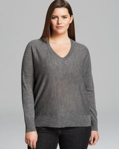 Eileen Fisher Plus Merino Wool V Neck Sweater   Bloomingdale's