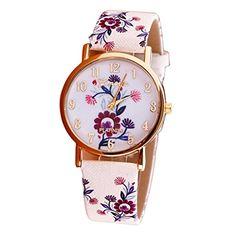 start fashion women elegant flower leather band analog quartz vogue watches purple materials