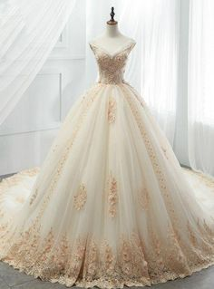 Champagne Tulle Ball Gown Off Shoulder Appliques Wedding Dress - . - Champagne Tulle Ball Gown Off Shoulder Appliques Wedding Dress – dress - Tulle Ball Gown, Ball Gowns Prom, Ball Gown Dresses, Bridal Dresses, Tulle Dress, Evening Dresses, Afternoon Dresses, Flapper Dresses, Dress Lace