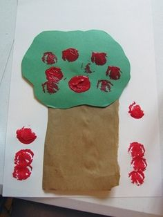 We made apple trees in preschool from Teach Preschool