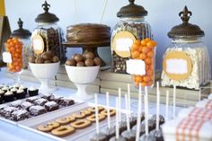 A masculine dessert table for a 30th birthday party.