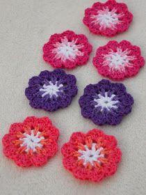 Free Pattern for flower Crochet Flower Patterns, Crochet Motif, Diy Crochet, Crochet Crafts, Crochet Flowers, Crochet Stitches, Crochet Projects, Pattern Flower, Crochet Embellishments