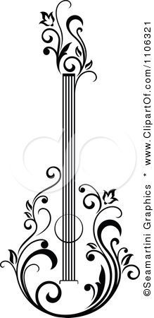 Clipart Black And White Floral Guitar 1 - Royalty Free Vector Illustration by Seamartini Graphics potential quilling pattern Zentangle, Stencils, Paper Art, Paper Crafts, Diy Crafts, Free Vector Illustration, Vector Illustrations, Clipart Black And White, Black White
