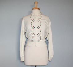 1960s embroidered floral Darlene Cardigan Sweater