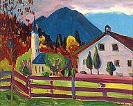 Gabriele Munter Landschaft mit Kirche un haus.