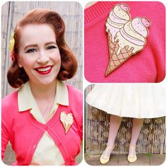 Banana and strawberry ice cream colours today to match my @deerarrow #icecream brooch!  #pinup #pinupgirl #pinupstyle #modernpinup #vintage #vintagegirl #vintagehair #vintagestyle #retro #ootd #ootdsocialclub #outfitoftheday #wiwt #whatiworetoday #deerarrow #noveltybroochfriday
