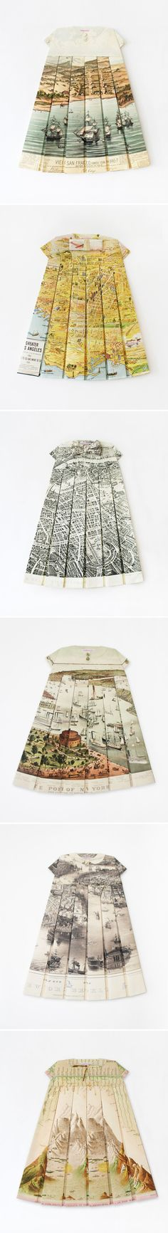 Les Robes Geographiques by ELISABETH LECOURT - vintage maps folded into tiny dresses  http://www.elisabethlecourt.com/