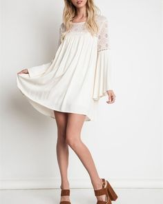 Urban Hippie Lace Bodice Mini Dress Tunic Boho Chic Natural
