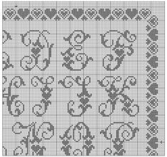 GRAFICOS PUNTO DE CRUZ GRATIS : ABECEDARIOS(56) Cross Stitch Alphabet Patterns, Cross Stitch Letters, Cross Stitch Embroidery, Stitch Patterns, Wedding Embroidery, Filet Crochet, Needlework, Lettering, Crocheting