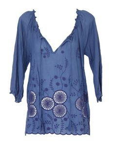 Stylin' for Summer! Cool cotton with boho  embroidered detail.One Season. Spinning Wheel Indigo by One Season